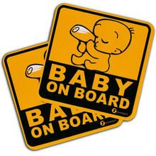 Yellow Color Reflective Baby on Board Magnet sticker